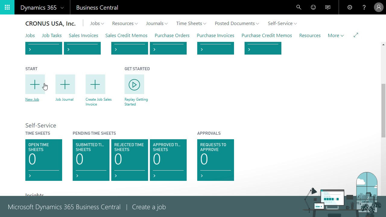 Create a Job in Microsoft Business Central