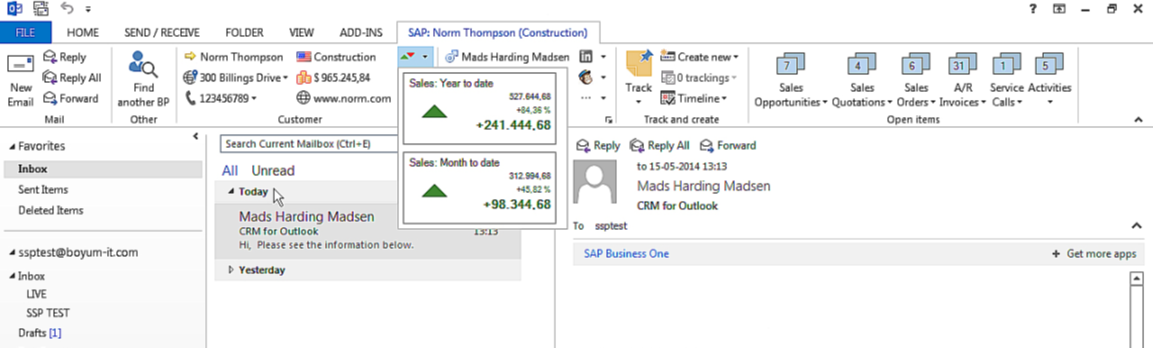 SAP Business One Outlook CRM
